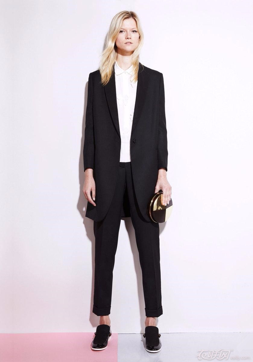 Long Jacket Pantsuit: Slight A-line jacket elongates your body line for a slimmer look. Seaming for shape, faux slit pockets and a hook-and-eye closure. Straight leg pants have a wide waistband, no pockets and a zipper and hook-and-bar closure.