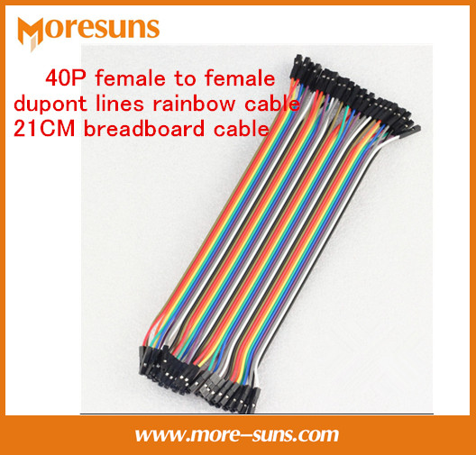 Fast Free Ship 10pcs/lot 40P Female To Female Dupont Lines Rainbow Cable Length 21CM Breadboard Cable