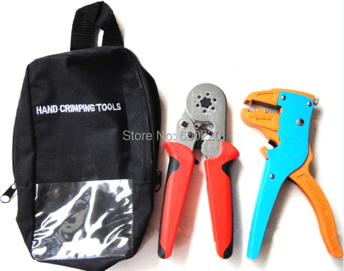 C86-6A-7DU Crimping Tool Kit with cable ferrules crimping tool LSC8 6-6A and wire stripper LS-700D combination tool set mini small ferrules tool crimper plier for crimping cable end sleeves from 0 25 2 5mm2