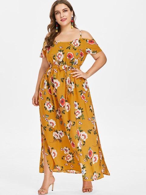 Wipalo Plus Size Boho Cami Empire Waist Dress Floral Print Slit Belt Cold  Shoulder Spaghetti Strap 9b57c9277374
