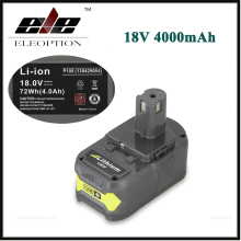 Eleoption 18V 4000mAh Li-Ion High Capacity Rechargeable Battery Pack Power Tool Battery For Ryobi P108 RB18L40 For Ryobi ONE+