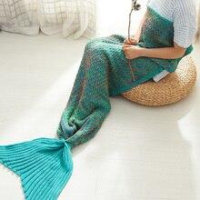 Фотография FashionMove Mermaid Tail Blanket Yarn Knitted Handmade Crochet Mermaid Blanket Throw Bed Wrap Super Soft Sleeping Bed