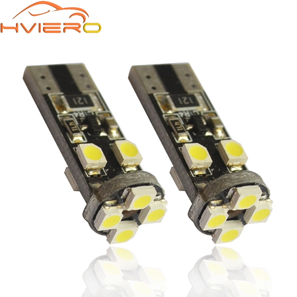 <font><b>100X</b></font> White <font><b>T10</b></font> 3528 1210 SMD 8Led Canbus No OBC Error 194 168 W5W DC 12V Interior Parking Light Side Turn Signal bulb lamp image