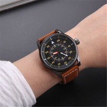 2017 New Arrival Fashion Casual Sports Quartz Wrist Watches Men Stylish Leather Strap Analog Watch(China)