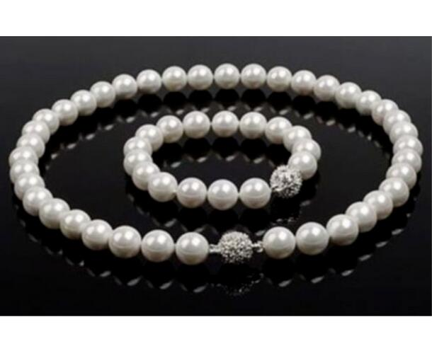 gorgeous 9-10mm round white pearl necklace 18inch &bracelet 8gorgeous 9-10mm round white pearl necklace 18inch &bracelet 8