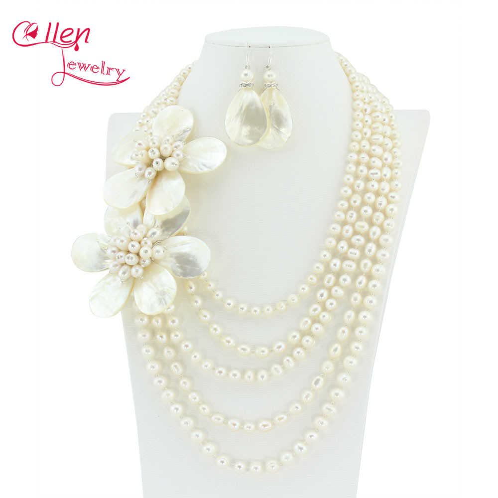 High Quality Freshwater Pearl Necklace,Holiday Party Necklace,Bridesmaid Necklace,White Flower Shell Necklace Pearl Jewelry HD22 excellent design 6 rows flower freshwater pearl necklace pearl jewelry set white shell necklace crystal necklace christmas gifts