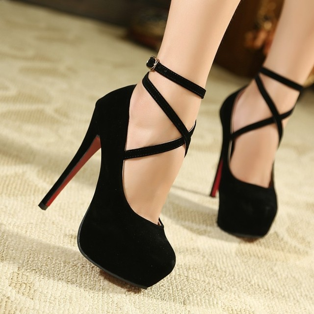 New arrived Free shipping Women Hot 14CM ultra High heel Pumps/Cross strapy platform party shoes Size 35-45 цены онлайн