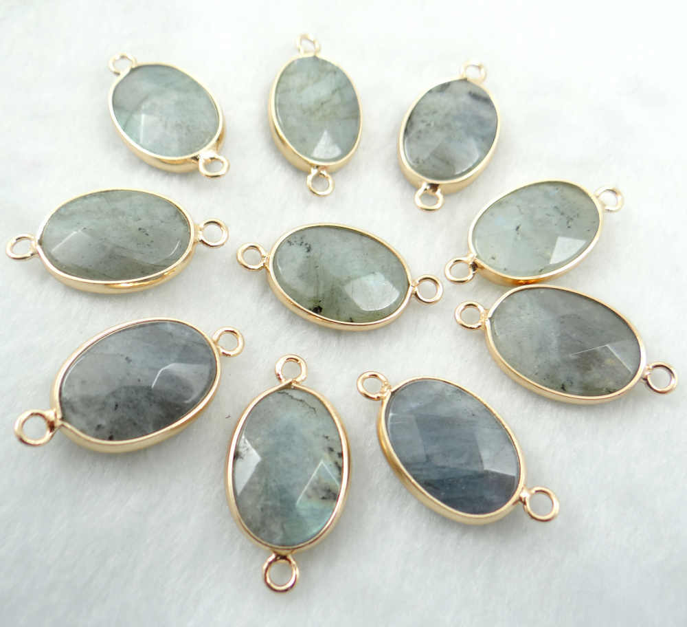 Natural stone  labradorite Turquoises Quartz crystal Bracelet Connector Pendant for diy Jewelry making necklace Accessories12PCS