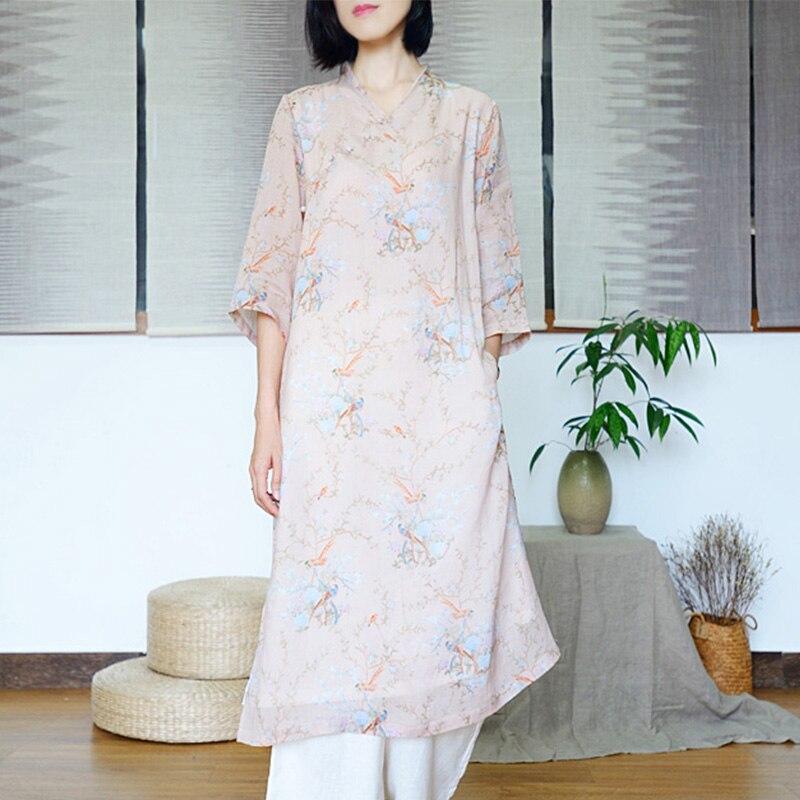 Scuwlin 2019 été femmes robe Vintage imprimé col en v Jade boutons haute fente Double couche Ramie chinois amélioré Cheongsam S593