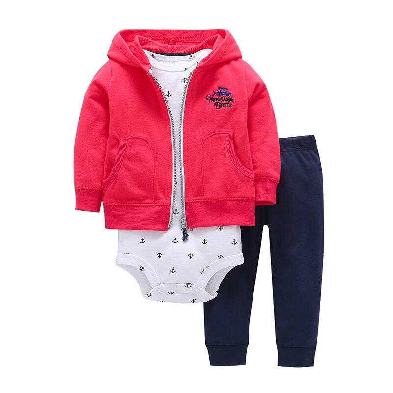 Купить с кэшбэком 3pcs 2019 New Arrival Cotton Hoodie Set of Little Jacket Vest Bodysuit and Pants Baby Boy Girl Clothing Set Toddler Clothes