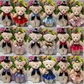 NEW 12CM 10 pairs/lot pp cotton kid toys plush doll mini small teddy bear flower bouquets bear  wedding bear 15 styles to choose