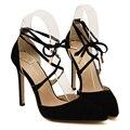 Sapatos novos mulher primavera 2016 sensuais dedo apontado saltos finos rebanho sapatos de salto alto senhoras bombas sensuais atacado