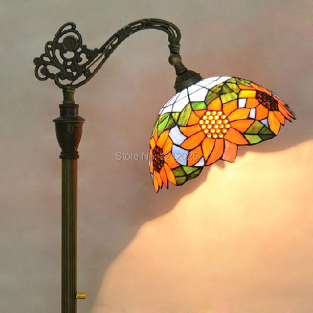 Vintage tiffany style sunflower bridge floor lamp living room vintage tiffany style sunflower bridge floor lamp living room bedroom for reading stained glass lampshade stand aloadofball Image collections