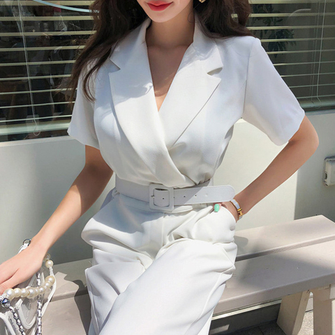 Office Ladies Notched Collar Short Sleeve Sashes Women Jumpsuit Elegant Work Business Wide Leg Pant White Jumpsuits Female 2019 Pakistan