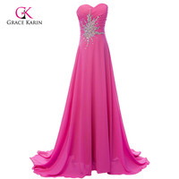 Free Shpping Grace Karin Elegant Green Deep Pink Floor Length Long Beaded Sequins Formal Prom Party