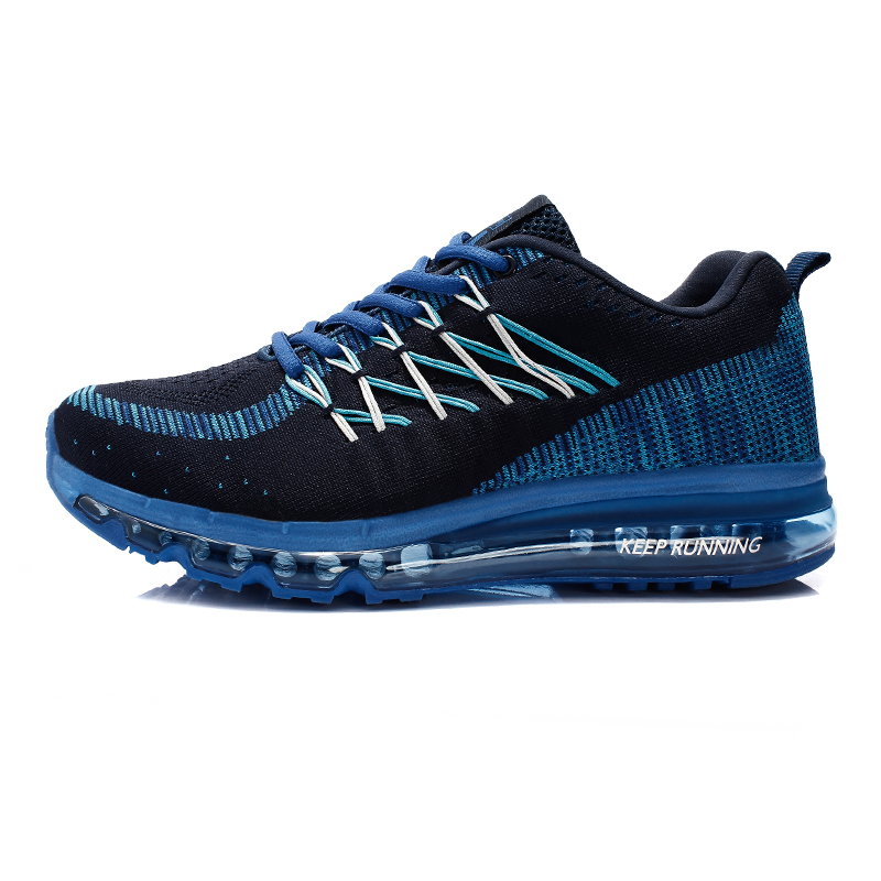 ФОТО 2016 Man Trainers Air Cushion Running Shoes Flywire Spring/Autumn Running Shoes For Men Air Blue/Red Running Trainers Men