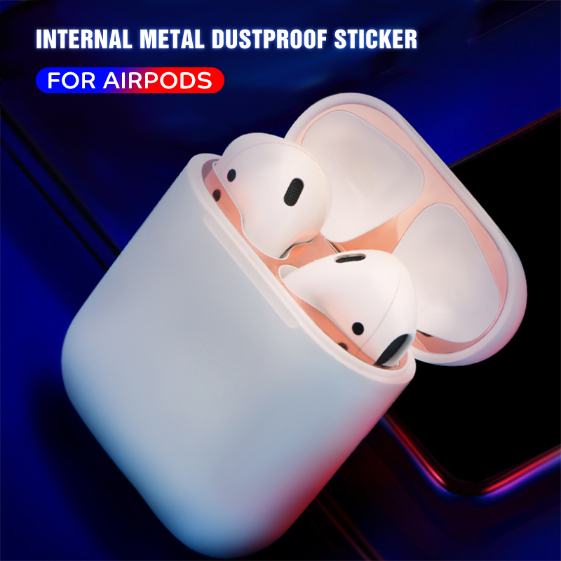 Ultra Slim Metal Dust Guard for Apple AirPods Case Cover Accessory Protection Sticker Skin Protecting For AirPods Metal Shavings in Earphone Accessories from Consumer Electronics