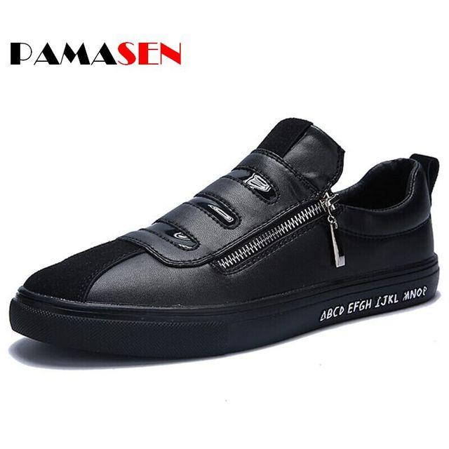 2016 Новое Прибытие Мужчины Повседневная Обувь Мода Боковой Молнии Удобные мужская Обувь Черный Белый Низкий Топ PU Замши Лоскутное обувь