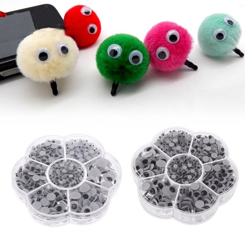 900Pcs 4mm/5mm/6mm/7mm/8mm/10mm/8x10mm DIY Puppet Plastic Movable Eyes Safety Craft For Handmade Teddy Bear Children Kids