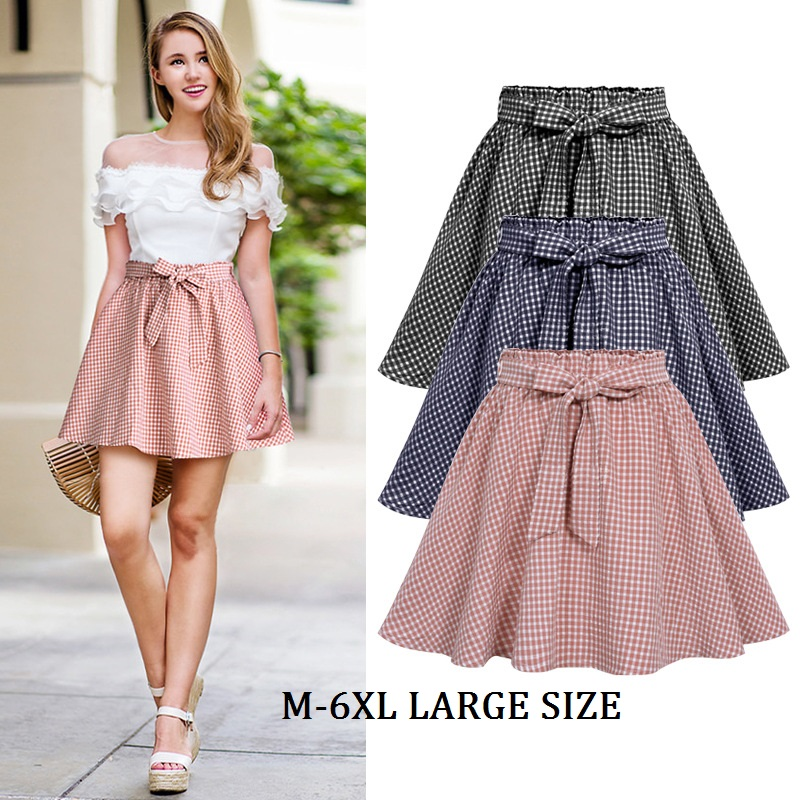 Wholesale Women Casual Skirts Summer High Waist Plaid Cotton Skirt Vintage Large Size 6XL Skirts With Lining for Female 1700