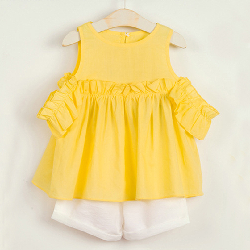 Girls Clothes Suits 2018 Summer Fashion Style Children Yellow Solid Color Clothes And White Pants 2Pc Kids Clothes Sets