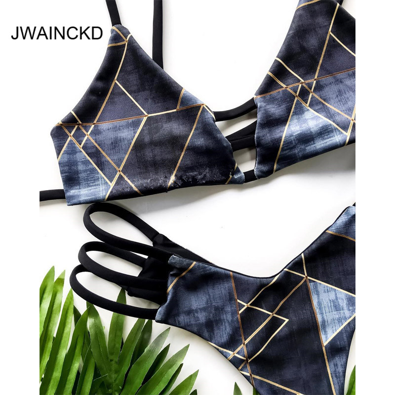 JWAINCKD Plaid Sheer Bikini 2019 New Mujer Front Bandage Biquini Halter Tops Maillot De Bain Sexy Beachwear Strappy Bathing Suit