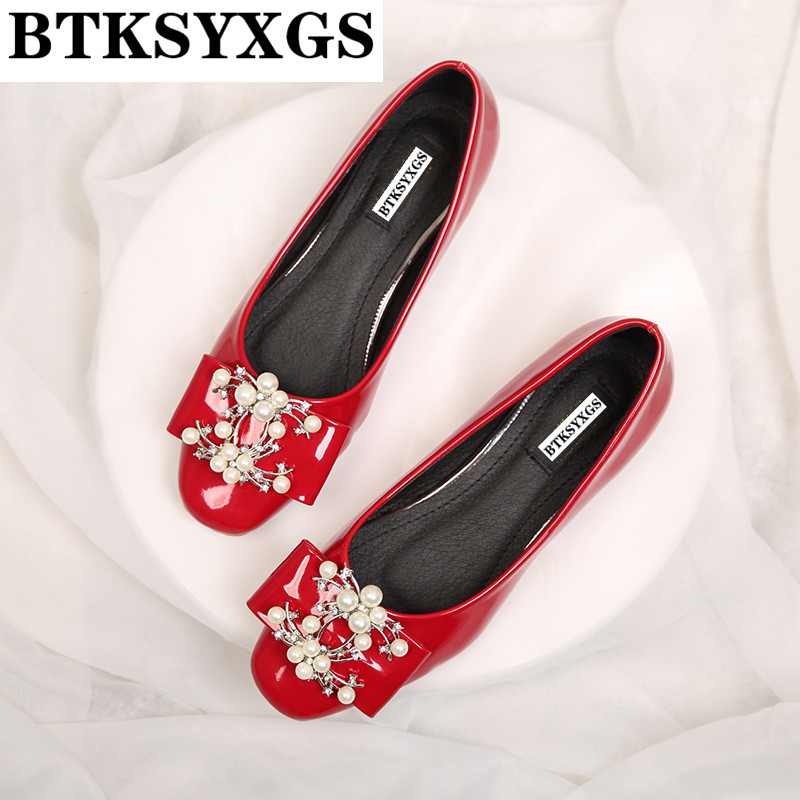 BTKSYXGS 2017 New Women's shoes flats leather Fashion bowknot Metal buckle pearl flowers Woman casual flat heel single shoes