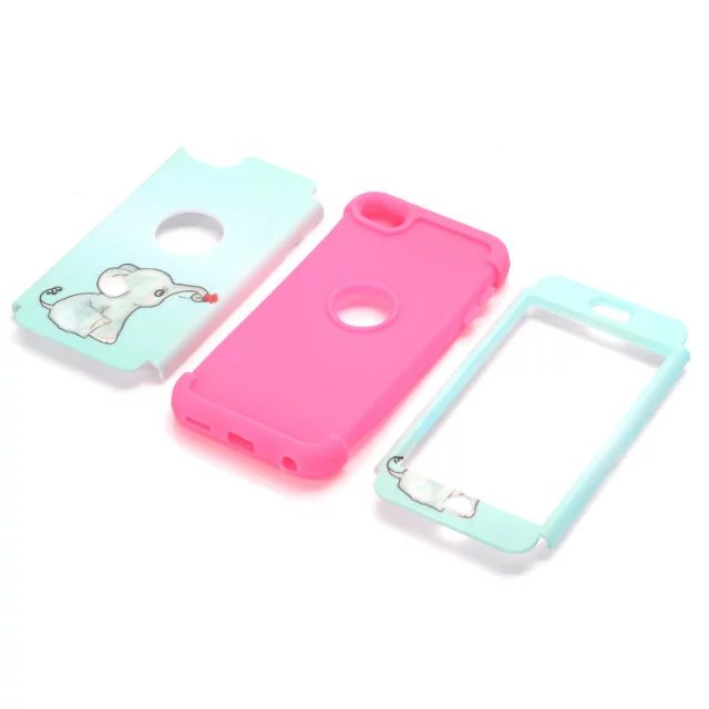For iPod Touch6 Cover Cases Kids 3 in 1 Tough Rugged Cover Shockproof High Impact Soft TPU Hard PC Phone Case for iPod Touch 6