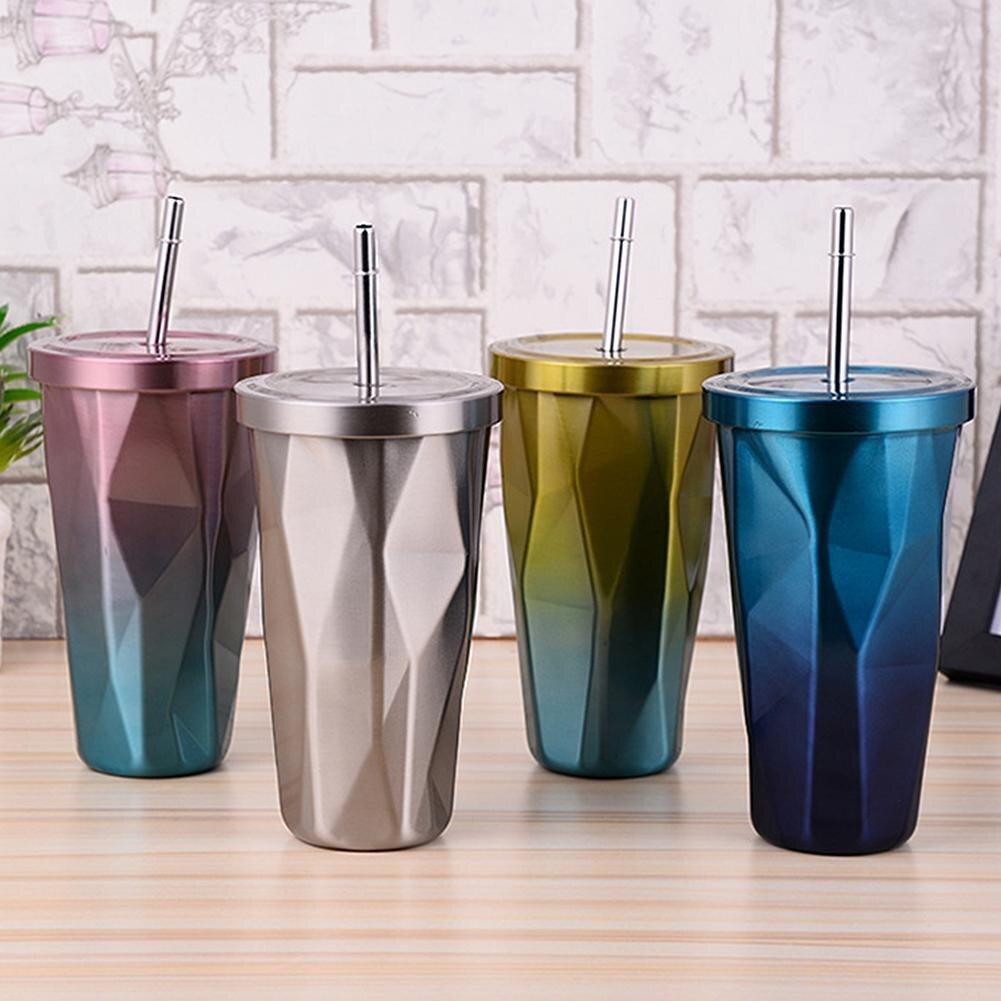 Taza irregulares creativa colorida del arco iris de 500 ml taza de café de acero inoxidable de doble capa con pajita para beber