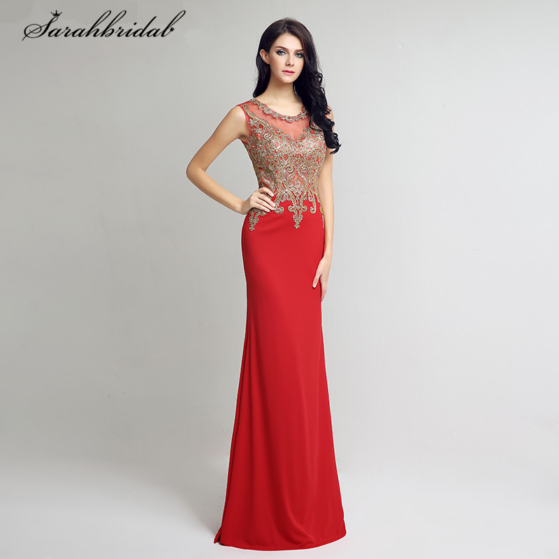 Sexy Sheer Mermaid Long   Evening     Dresses   Illusion Back Lace Appliques Crystal Beaded Prom Gowns vestido de noiva LSX211