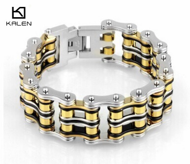 Kalen Fashion Jewelry 22.5cm Stainless Steel Bike Chain Men's Bracelet Yellow & Silver Heavy Chunky Link Chain Bracelet Bangle цена
