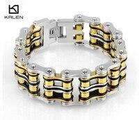 Kalen Fashion Jewelry 22.5cm Stainless Steel Bike Chain Men's Bracelet Yellow & Silver Heavy Chunky Link Chain Bracelet Bangle