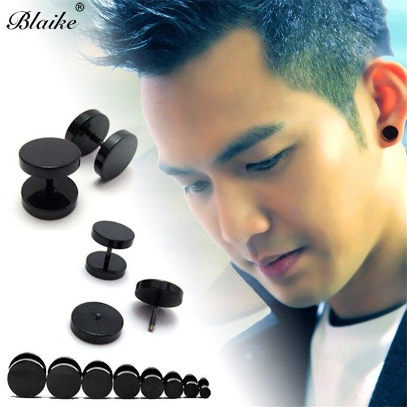 Blaike 1pc Cool Punk Black Stainless Steel Stud Earrings For Men Women Ear Studs Piercing Earring Male Vintage Fashion Jewelry