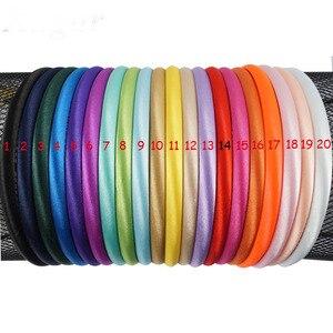 Image 3 - 100 ชิ้น/ล็อต Solid ซาตินสำหรับเด็กหญิง 10 mm ความกว้าง Candy สี Hairband อุปกรณ์เสริมผม Hoop