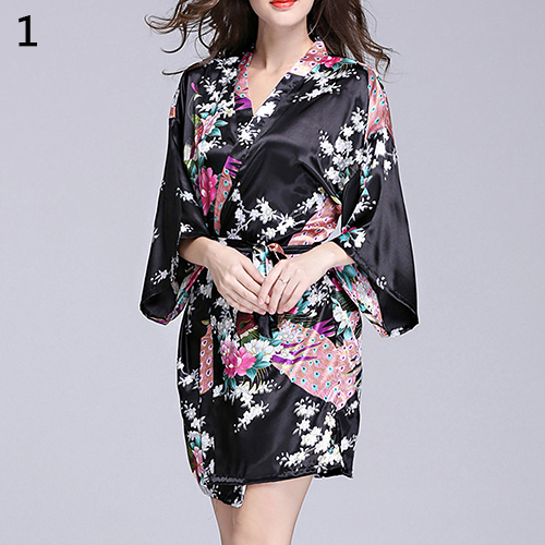 Women\'S Faux Silk Bathrobe Sexy Gown Robe Sleepwear Peacock Printing