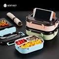 WORTHBUY, японский Bento Box с отделениями, 304 нержавеющая сталь, Ланч-бокс для детей, микроволновая печь, контейнер для еды, набор посуды
