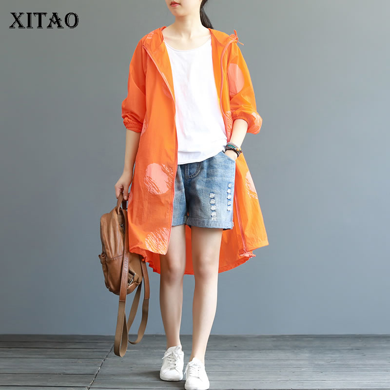 XITAO Literary Elegant Polka Dot   Trench   Match All Sunscreen Hooded Collar Casual Plus Size Women Clothes 2019 Autumn New WBB4548