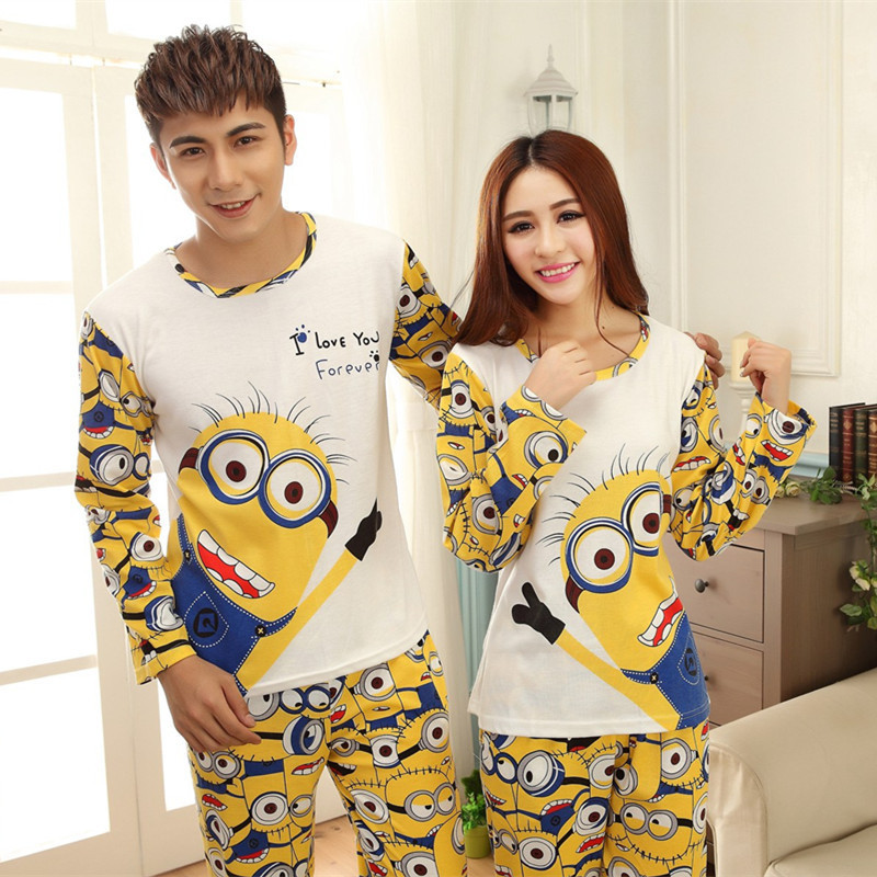 2017 Spring and Autumn Cartoon Women Home Clothing Couples Matching Pajamas Adult Minion Pajamas 2 Piece Sets Lovers sleepwear