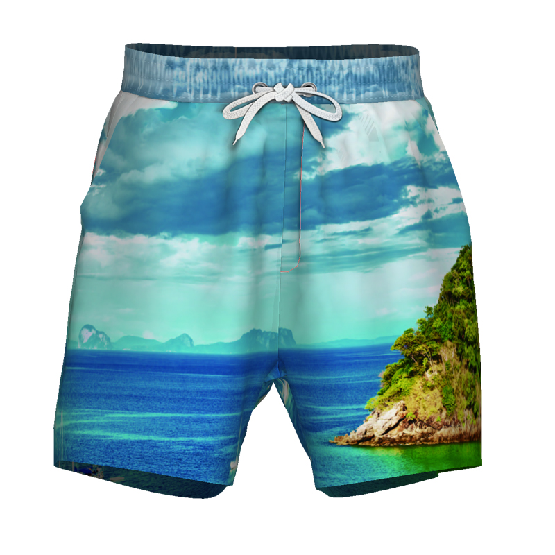 Men Beach   Shorts     Board     Shorts   Underwear Briefs Summer Loose Elastic Swimwear Swimming Island Trunks Swim Surf Sport Swimsuit