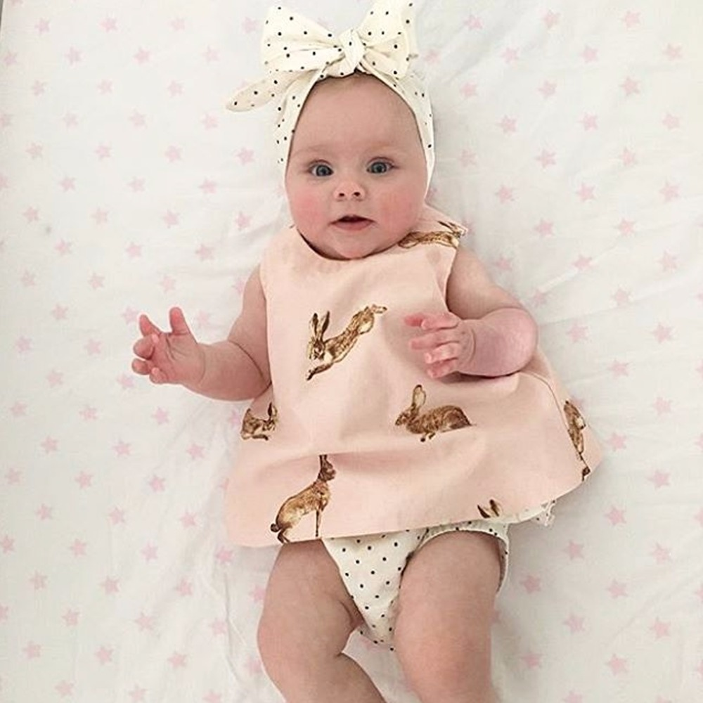 Puseky 3PCS Newborn Toddler Baby Girl Clothes Set 2017 Summer Sleeveless Rabbit Printed Vest Back Cross Top+Ruffles Shorts Cloth