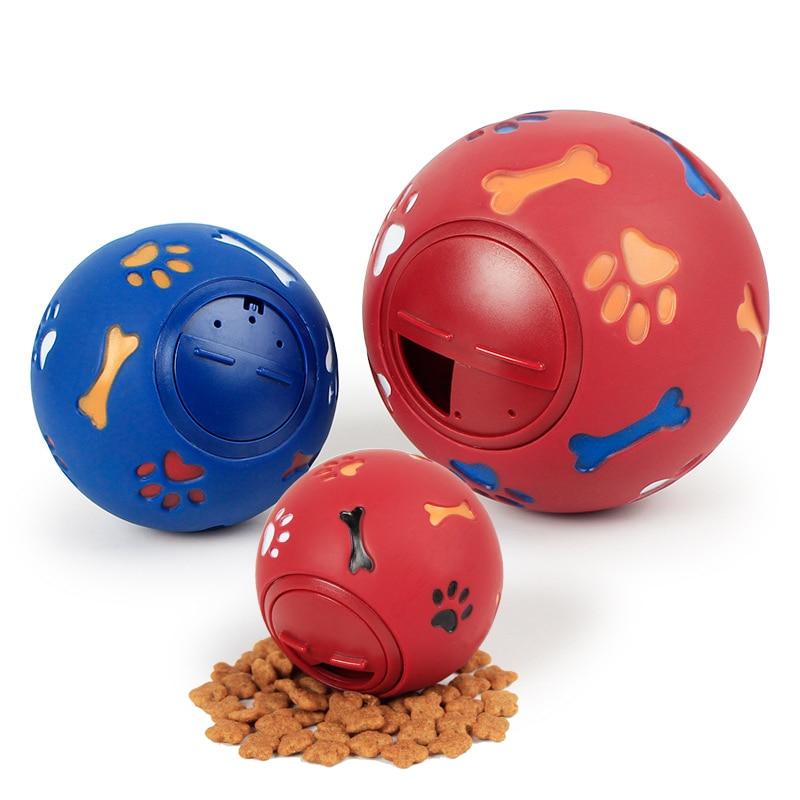 Флуоресцентный дозатор для жевания, игрушечный интерактивный мяч для домашних животных, синий, красный, диаметр 7,5 см-2
