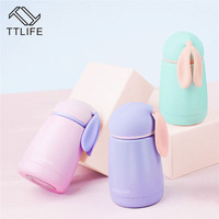 2016 Cute Mini Thermos Cup Rabbit Style Lovely Stainless Steel Mug Portable Travel Vacuum Cup 300ml