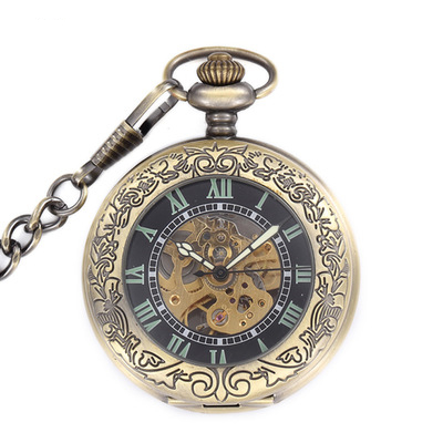 Steampunk Retro Copper High Quality Men Hand Winding Mechanical Pocket Watch Roman Numerals Skeleton Watch FOB Chain Necklace