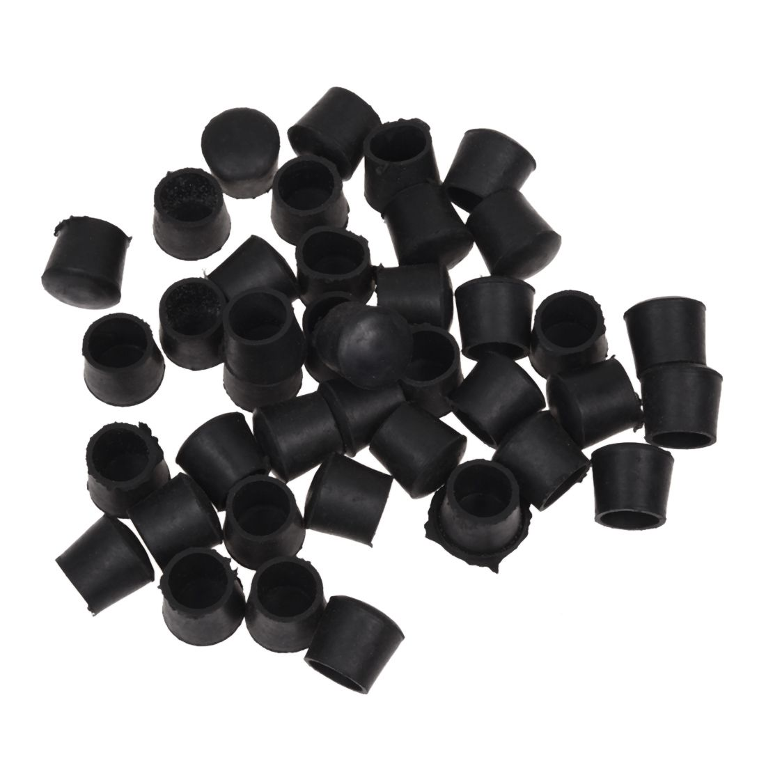 Hot Sale  40 Pcs Black Rubber Chair Table Feet Pipe Tube Tubing End Caps 14mm