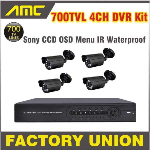 700TVL Cctv System 4 Channel D1 Recorder IR Waterproof Cameras Video Surveillance CCTV DVR Kit Security