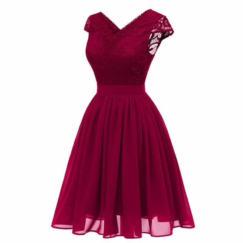 Vestido de fiesta de encaje elegante vestido de noche el bordado vestido de noche banquete fiesta vestidos chiffon vestido formal