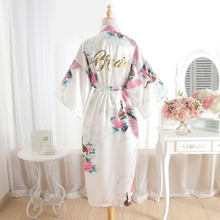 BZEL Silk Bride Robe Bridemaids Robe Floral Sexy Robes Women