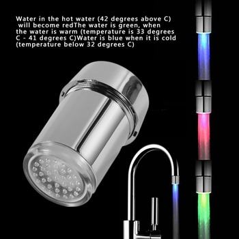3 Color LED Light Change Faucet Filter Shower Water Tap Temperature Sensor Water Faucet Glow Shower Left Screw with Converter Water Filters
