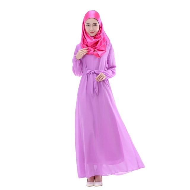 Mulheres Kaftan Abaya Jilbab Islâmico Muçulmano vestido de Cocktail Chiffon de Manga Comprida Vestido Longo