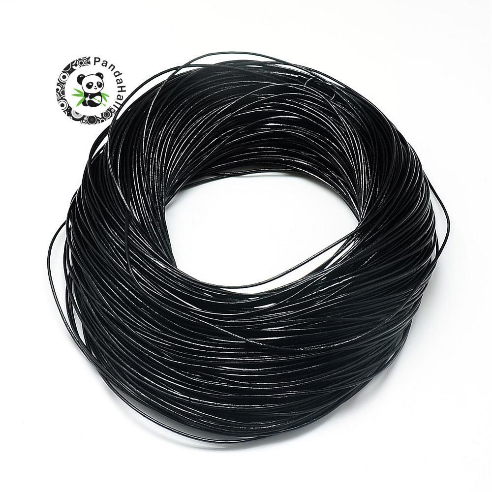 1.5/2/3mm 100 yard 1 Bundle peau de vache véritable cuir fil cordon fabrication de bijoux bricolage Design Bracelet collier artisanat matériel noir